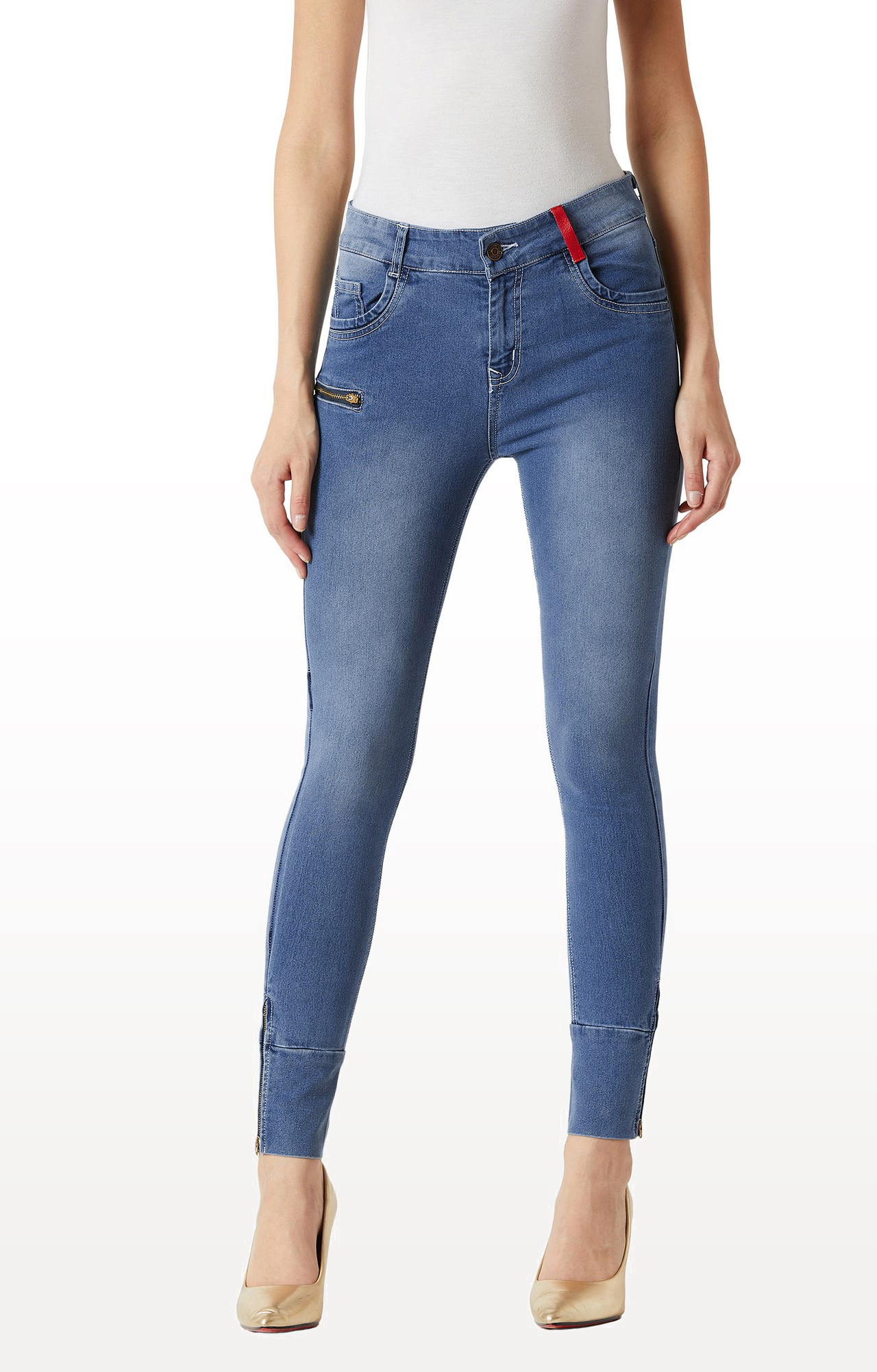 MISS CHASE   Blue Solid Mid Rise Zip and Loop Detailing Jeans