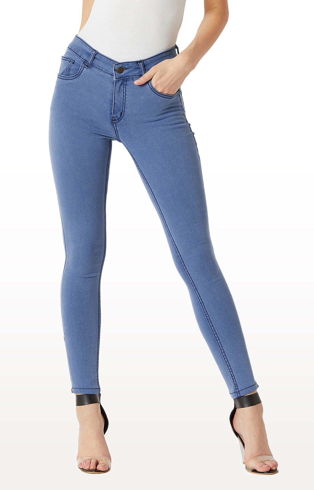 MISS CHASE   Light Blue Solid Mid Rise Zipper Detailing Clean Look Stretchable Jeans