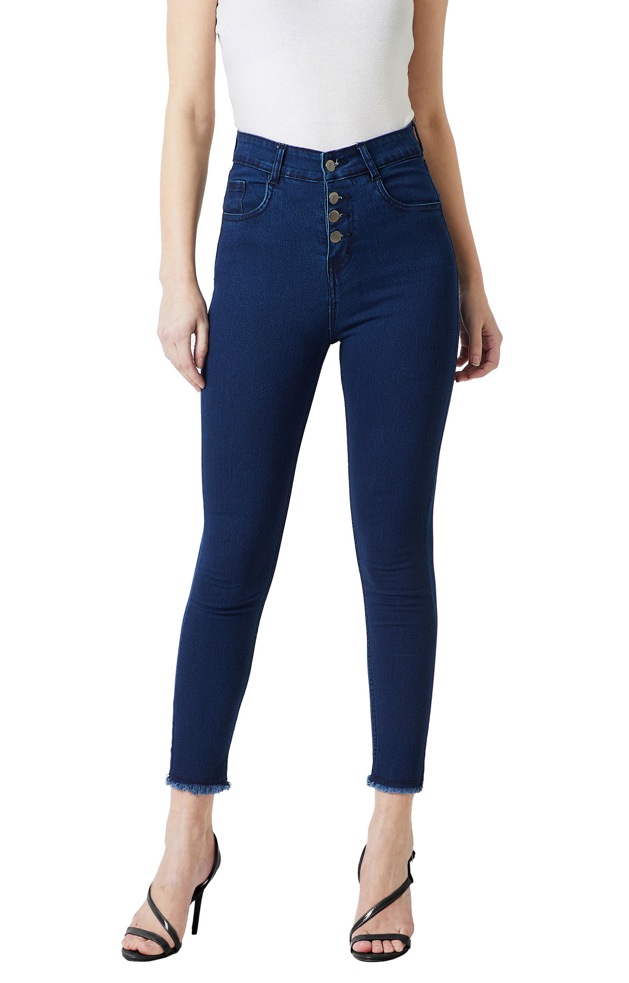 Navy Blue Solid Tapered Jeans