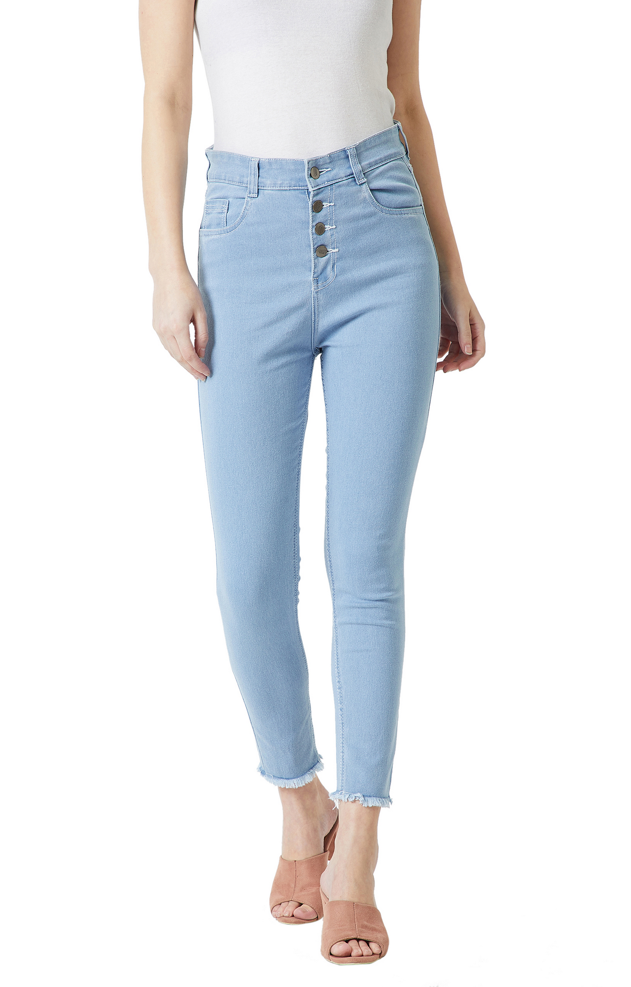 MISS CHASE   Light Blue Solid Tapered Jeans
