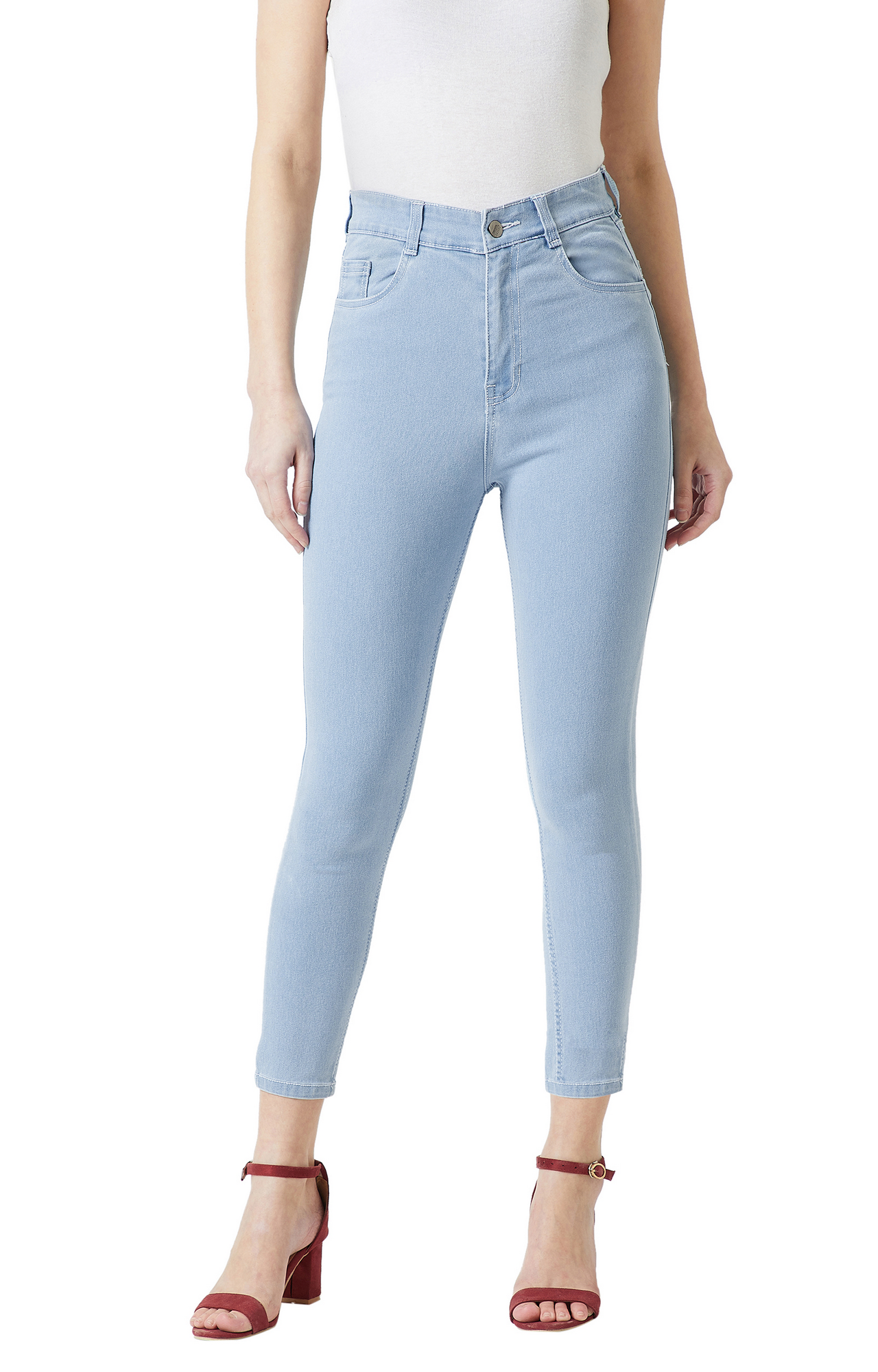 Light Blue Solid Tapered Jeans