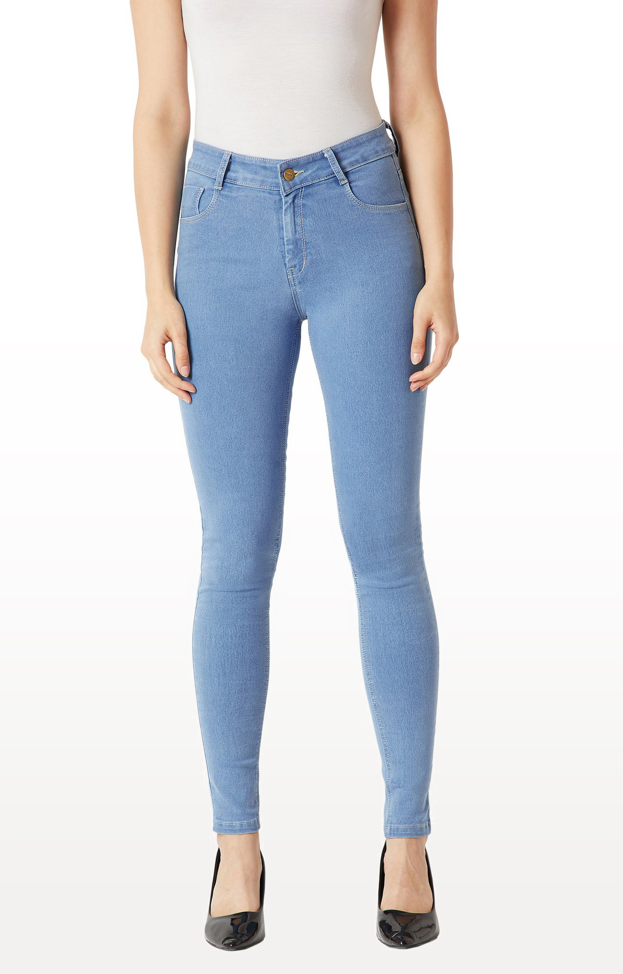 MISS CHASE   Blue Solid Mid Rise Clean Look Stretchable Jeans