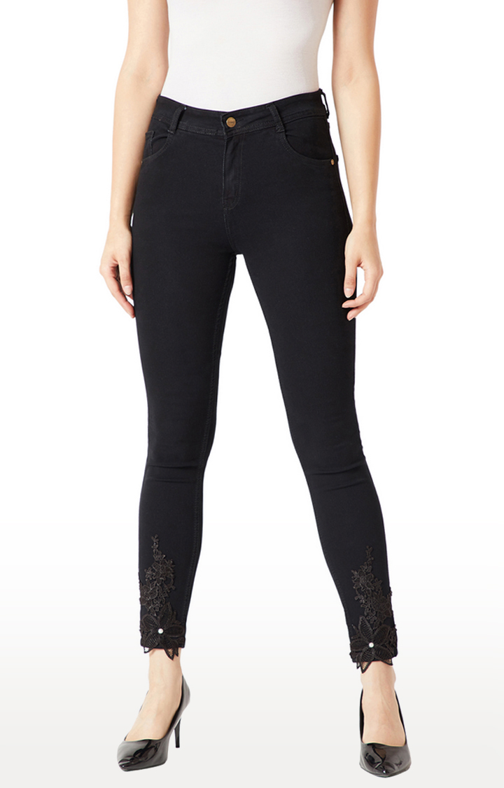MISS CHASE | Black Embroidered Skinny Fit Cropped Jeans