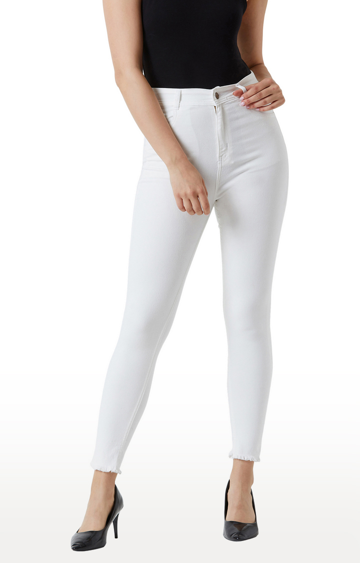 MISS CHASE   White Solid High Rise and Bleached Raw Edge Detailing Stretchable Skinny Fit Cropped Jeans