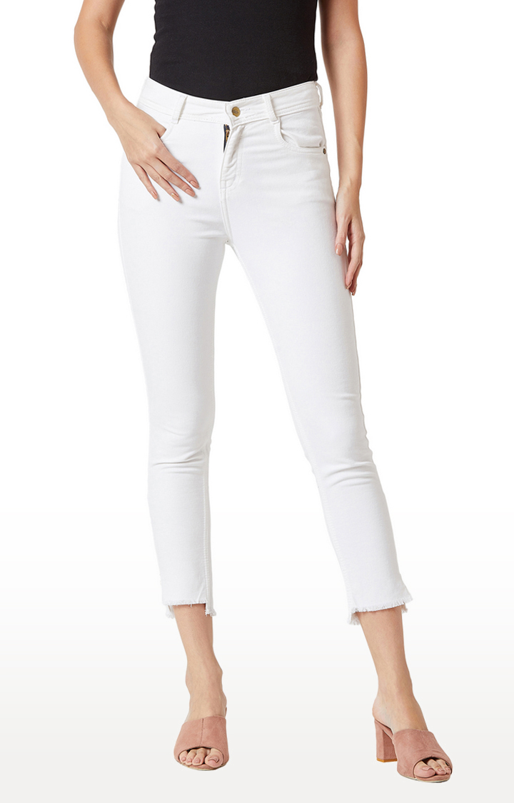 MISS CHASE | White Solid Cropped Jeans