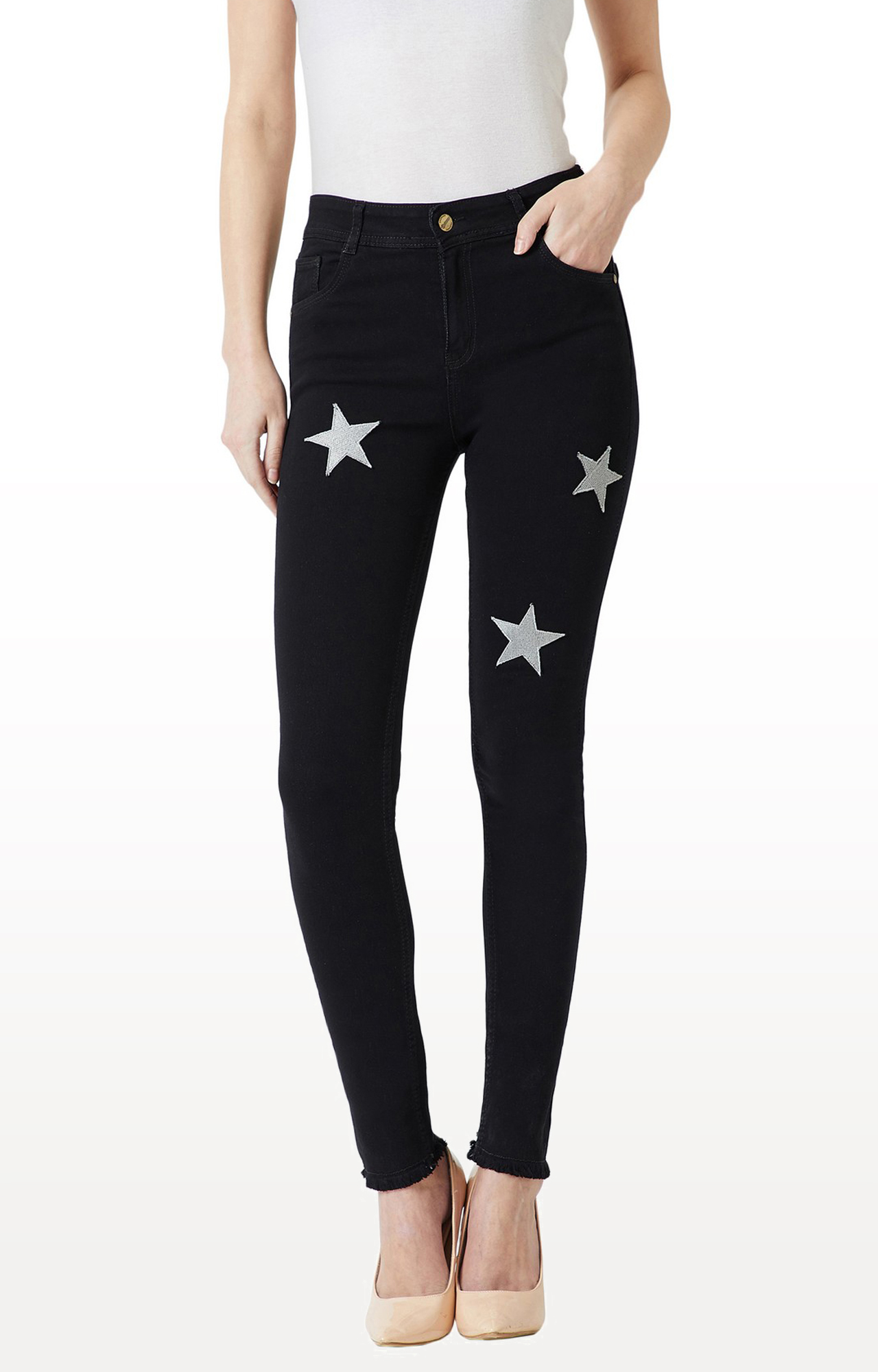 MISS CHASE | Black Solid Tapered Jeans