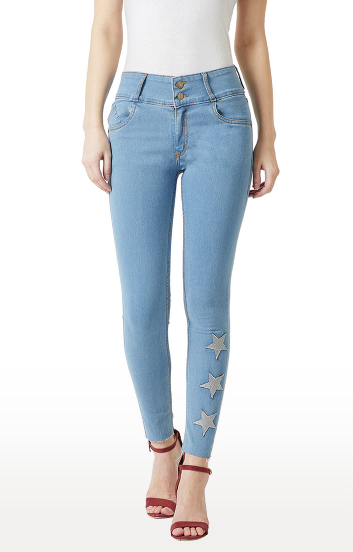 MISS CHASE | Blue Printed High Rise Stretchable Skinny Fit Jeans