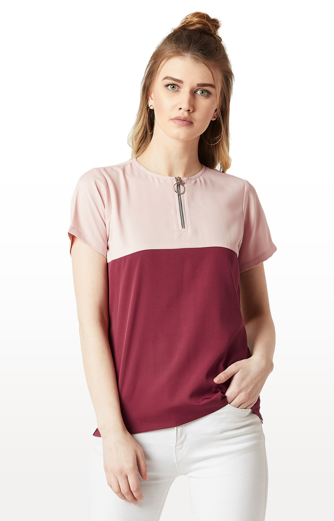 MISS CHASE | Blush Pink and Maroon Colourblock Boxy Zip Top