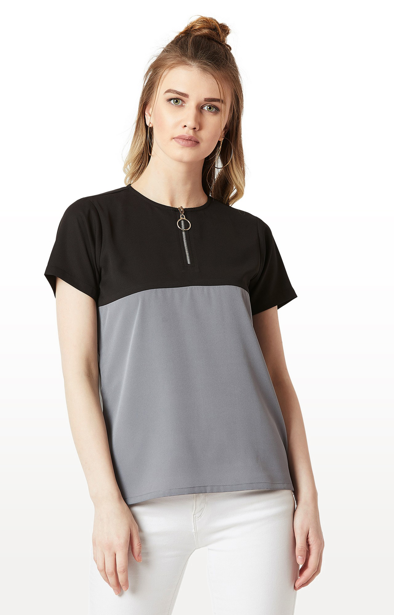 MISS CHASE | Black and Steel Grey Colourblock Boxy Zip Detailing Top