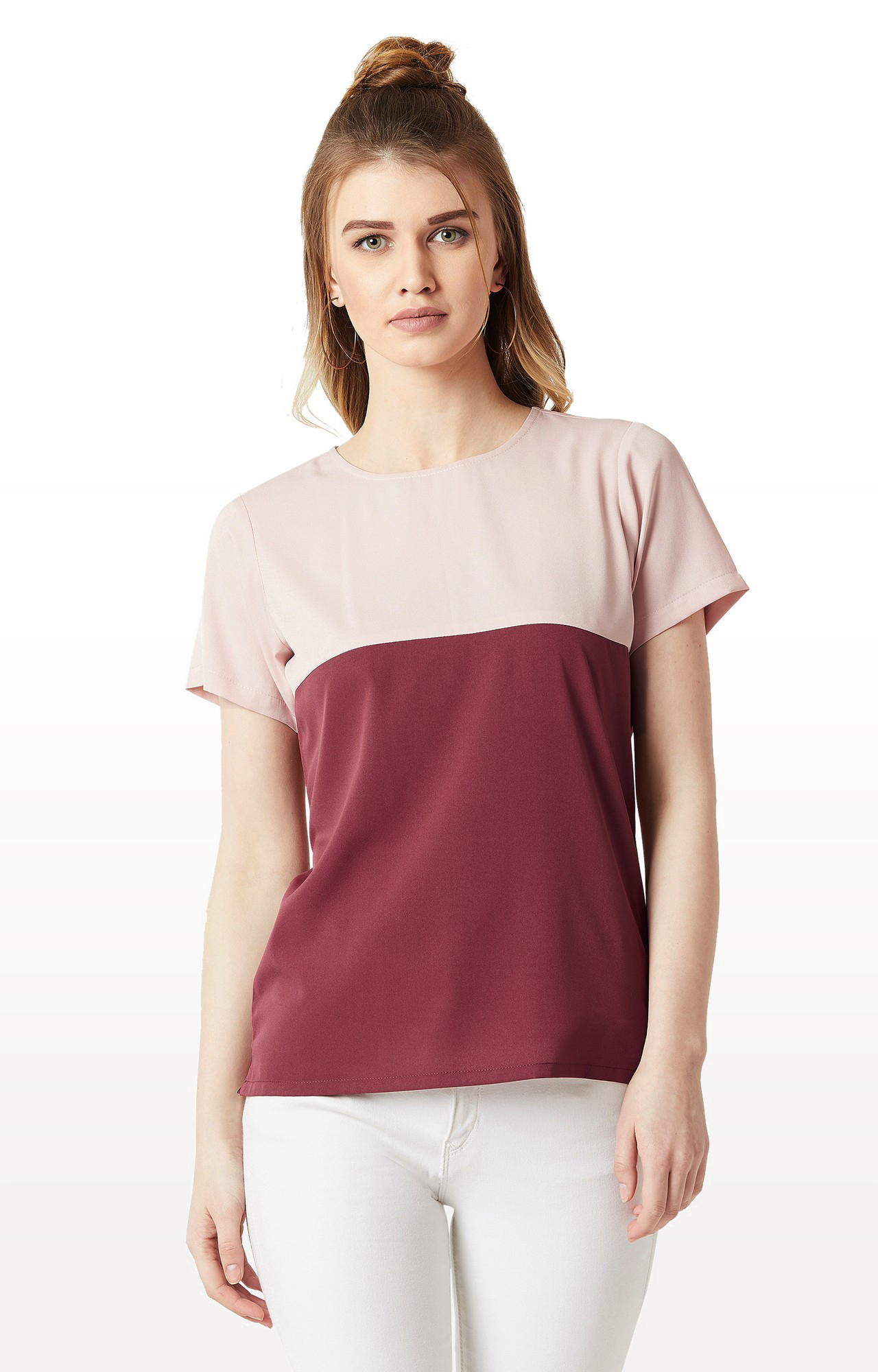 MISS CHASE | Blush Pink and Maroon Colourblock Boxy Top