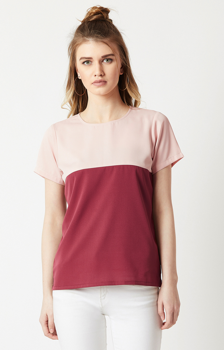 MISS CHASE | Pink and Maroon Colourblock Top