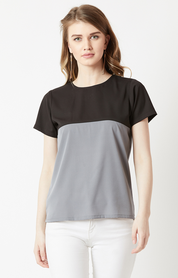MISS CHASE   Black and Grey Colourblock Top