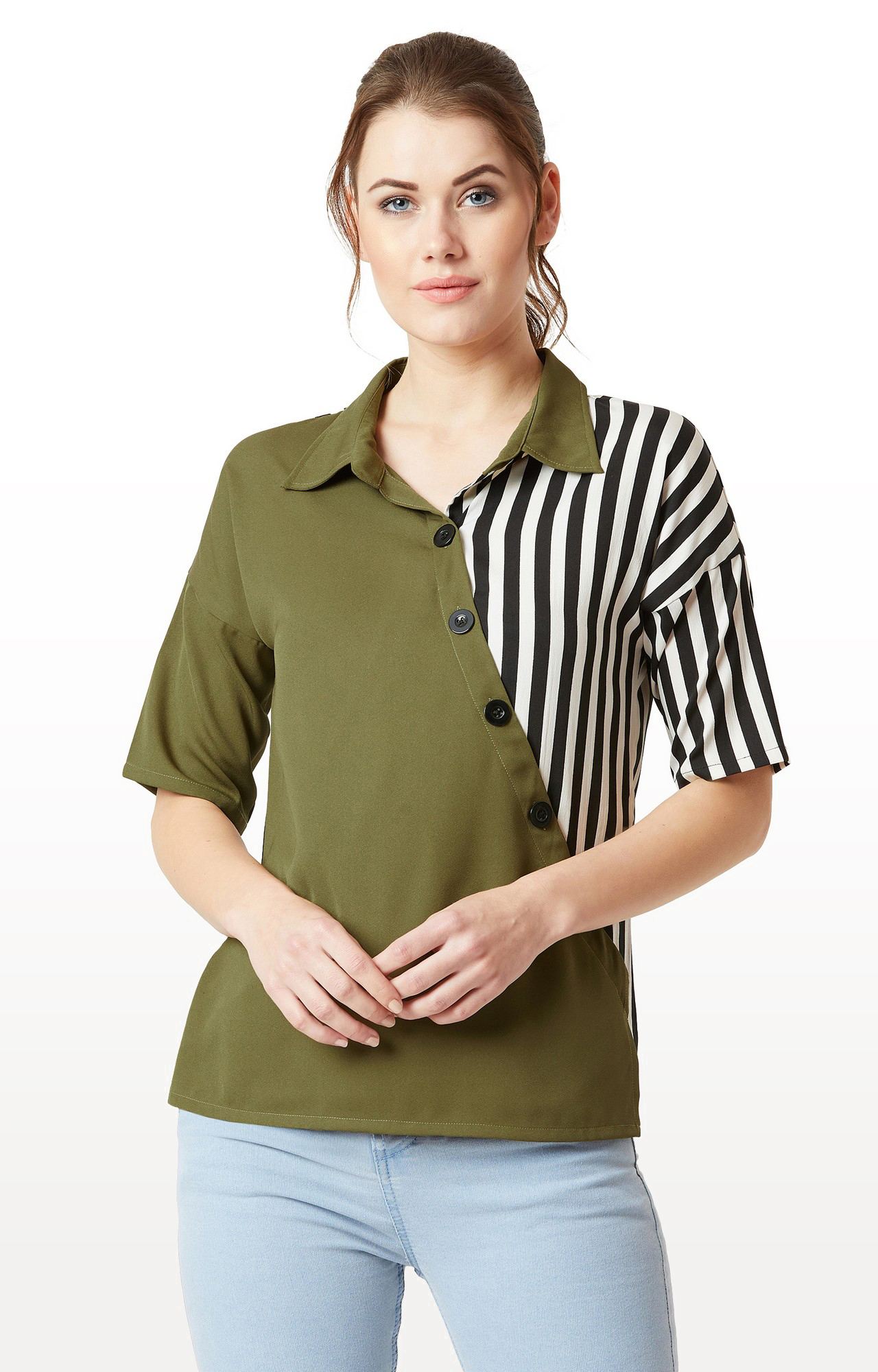 MISS CHASE | Green and Black Striped Paneled Drop Shoulder Top
