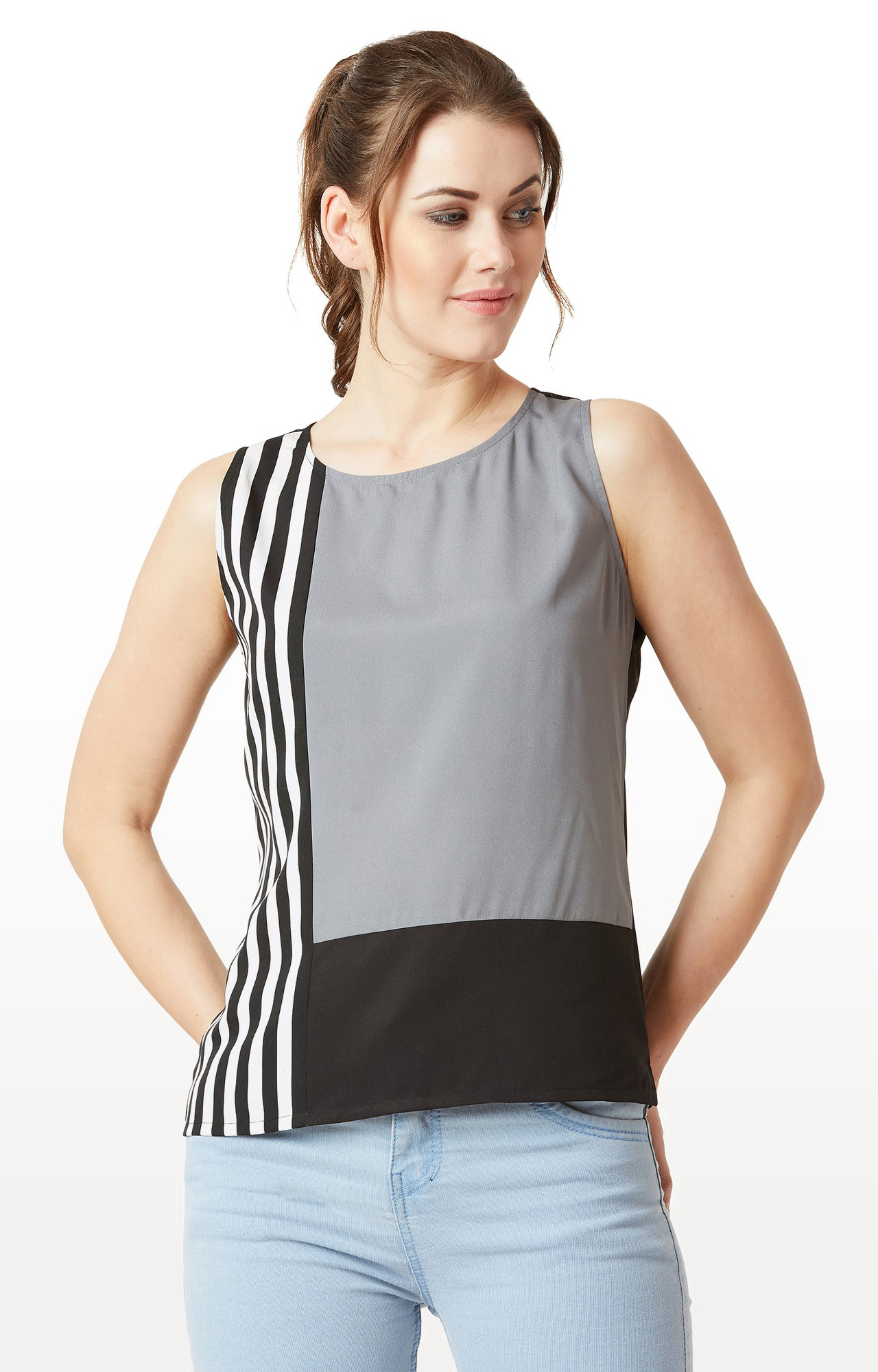 MISS CHASE | Grey and Black Colourblock and Striped Panelled Top