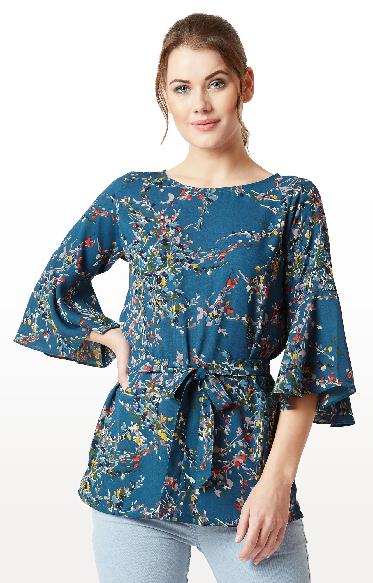 MISS CHASE | Blue Floral Ruffled 3/4th Sleeves and Long Belted Tie Up Top