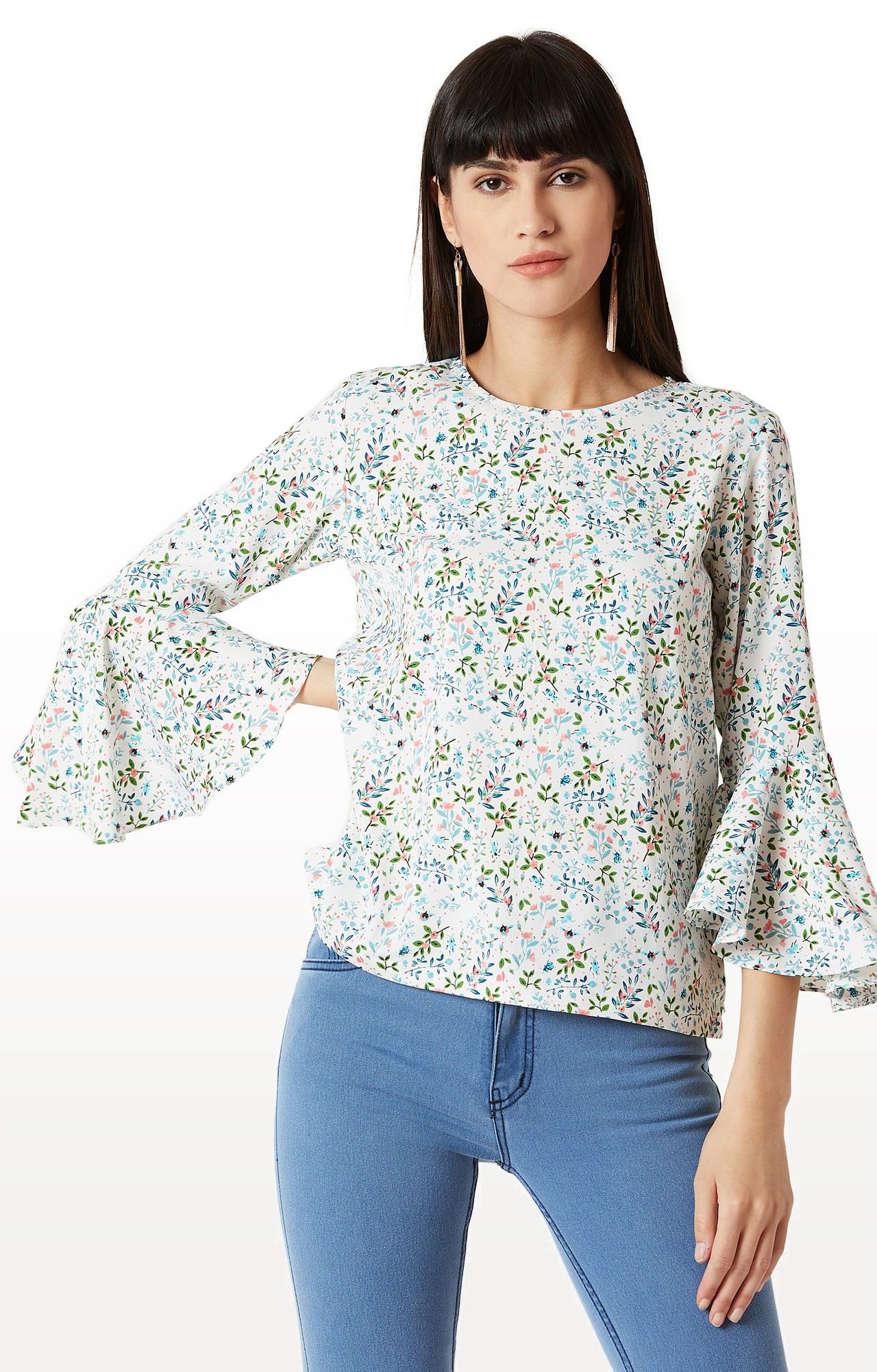 MISS CHASE | White and Blue Floral 3/4th Sleeve Ruffled Top