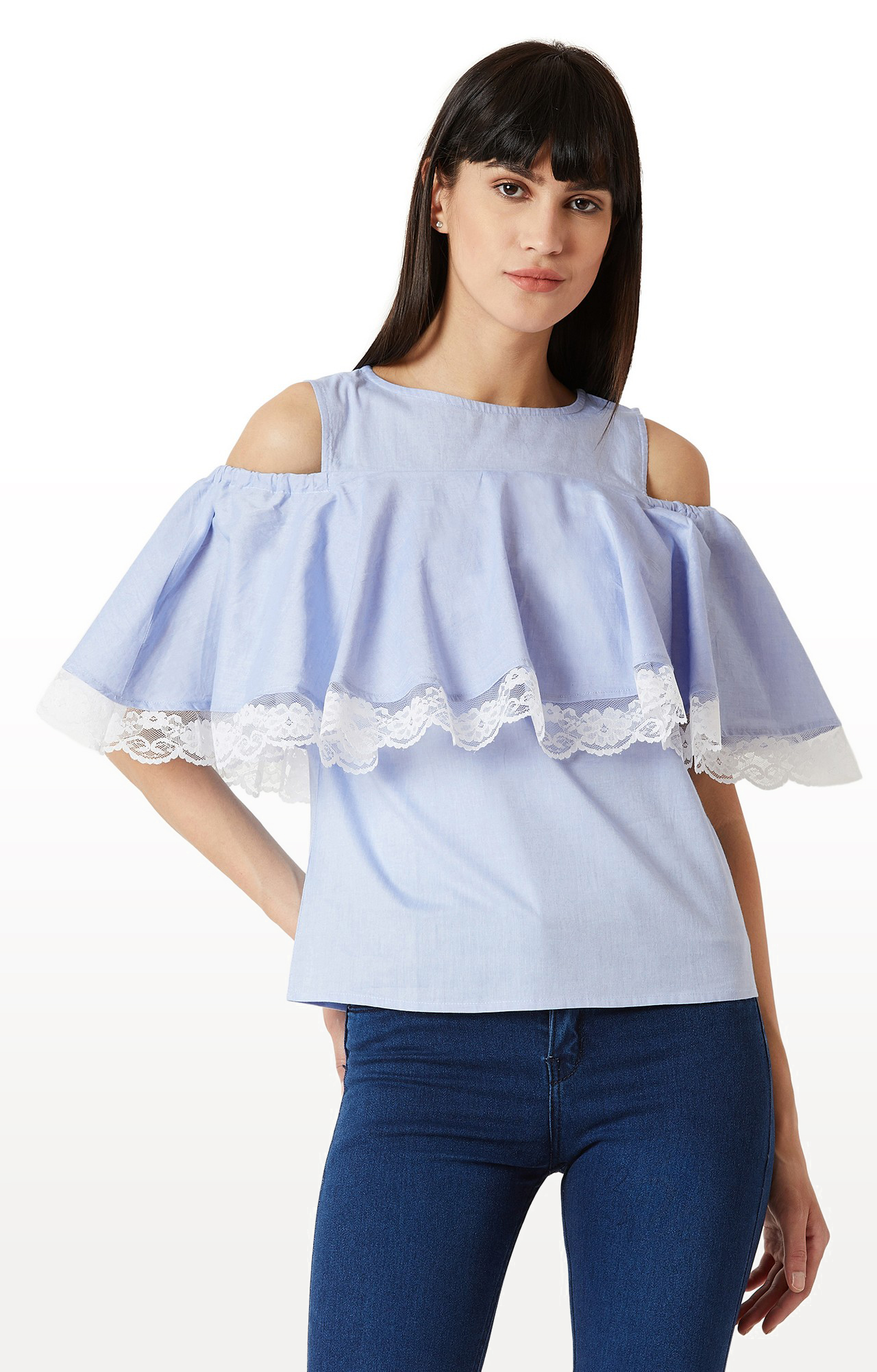 MISS CHASE | Light Blue Solid Ruffled Lace Detailing Cold Shoulder Top