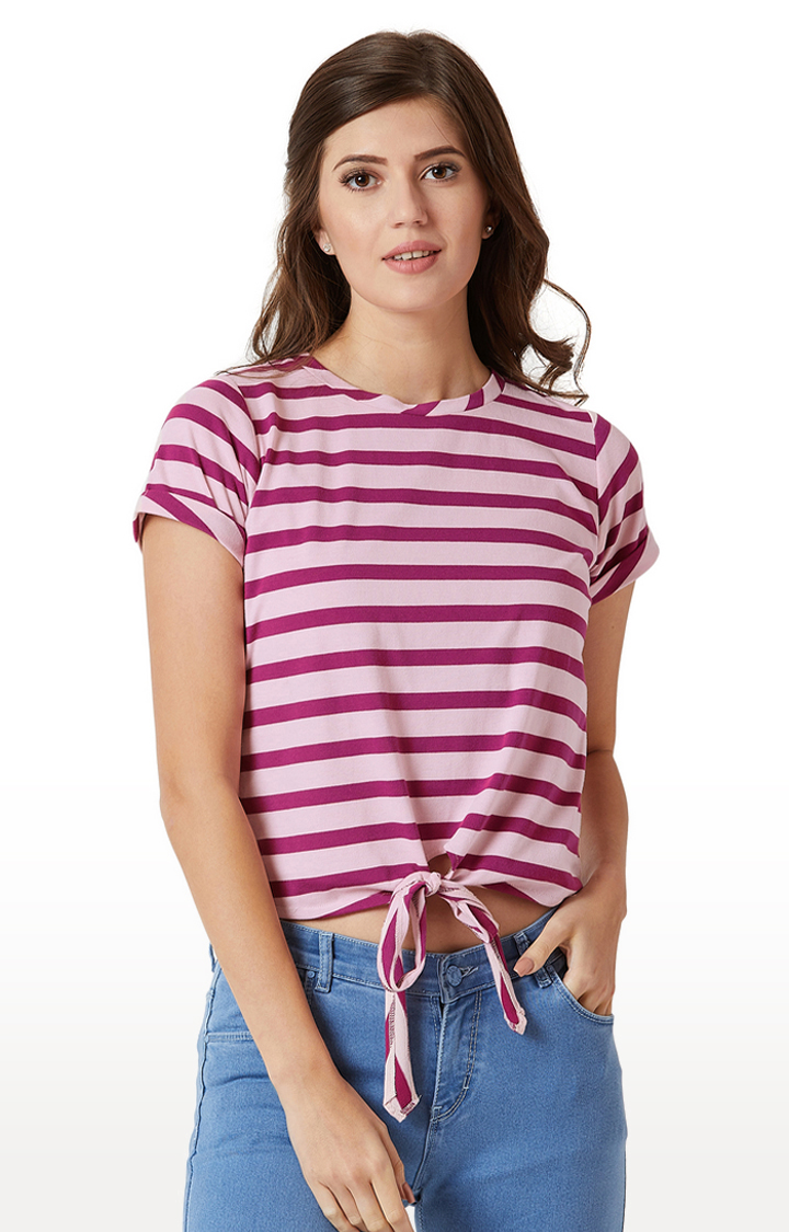 MISS CHASE   Purple and Pink Striped Crop Top