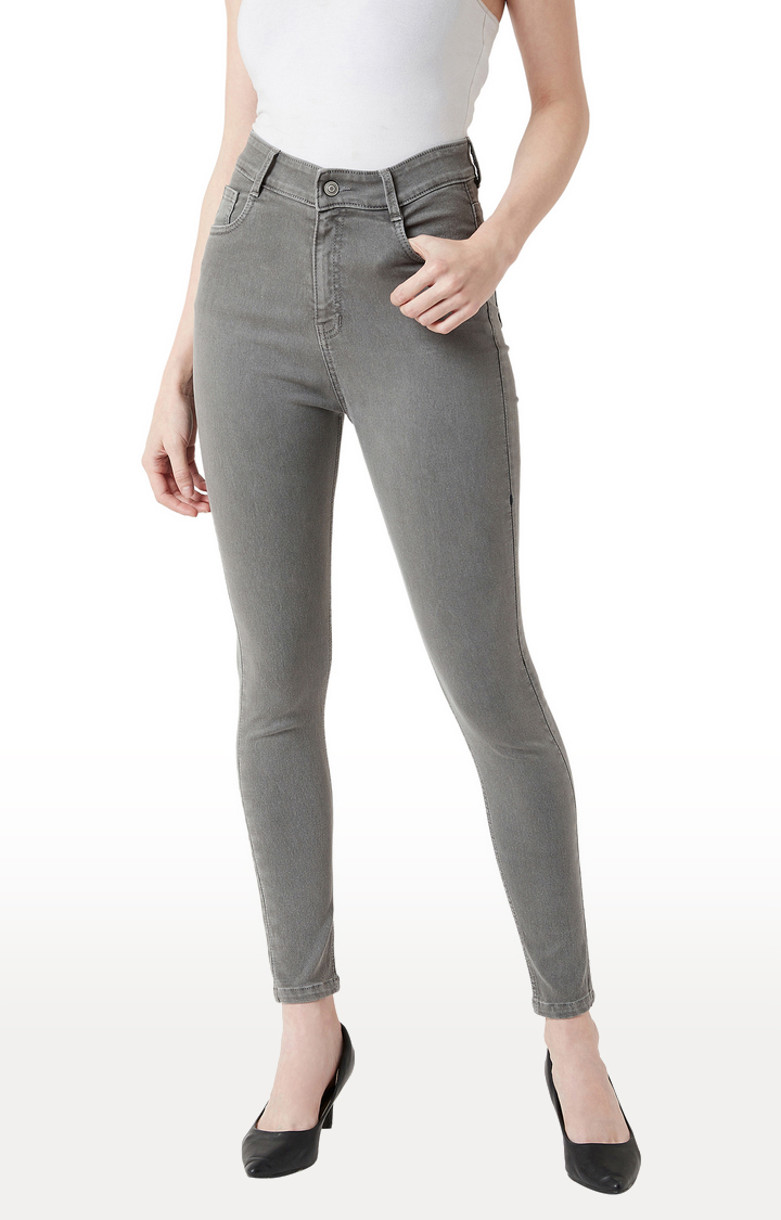MISS CHASE | Grey Solid Tapered Jeans
