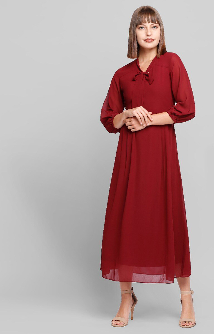 AND | Wine Solid Shift Dress