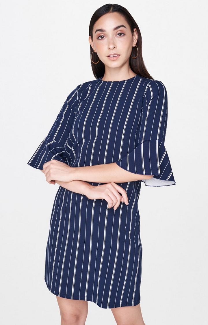 AND | Navy Striped Shift Dress