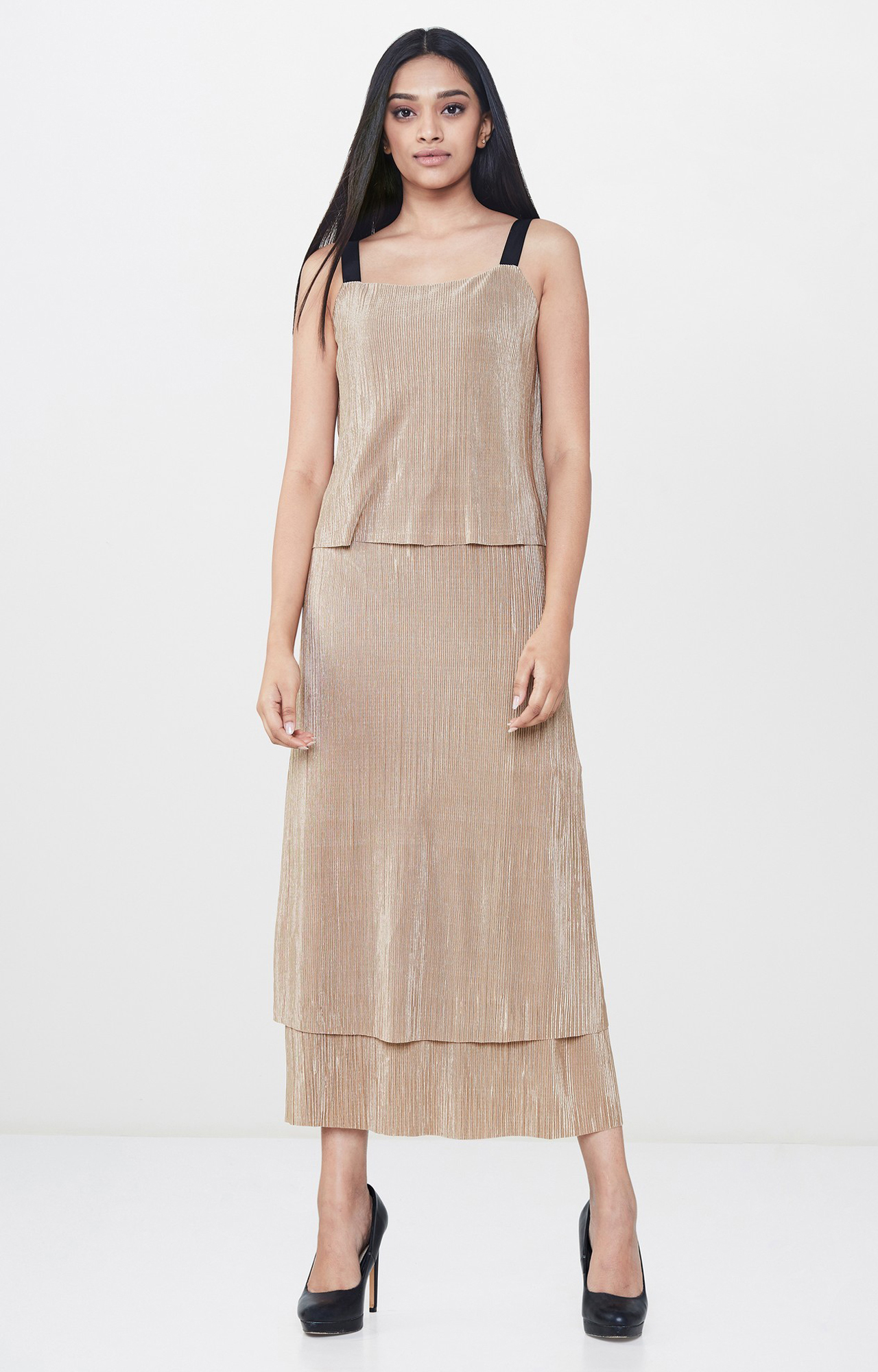 AND | Beige Solid Tiered Dress