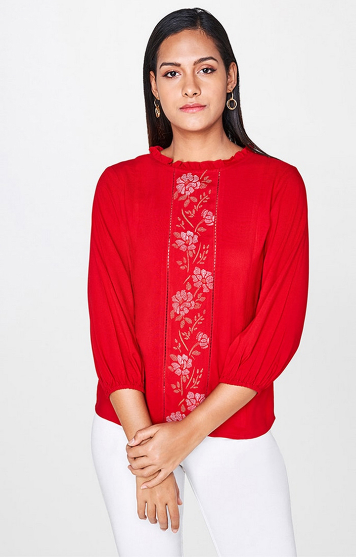 AND | Red Printed Top