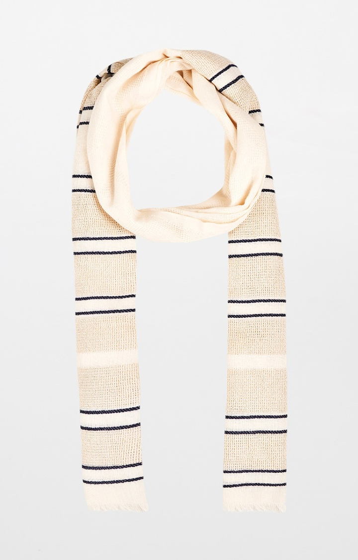 AND | Off White Striped Scarf
