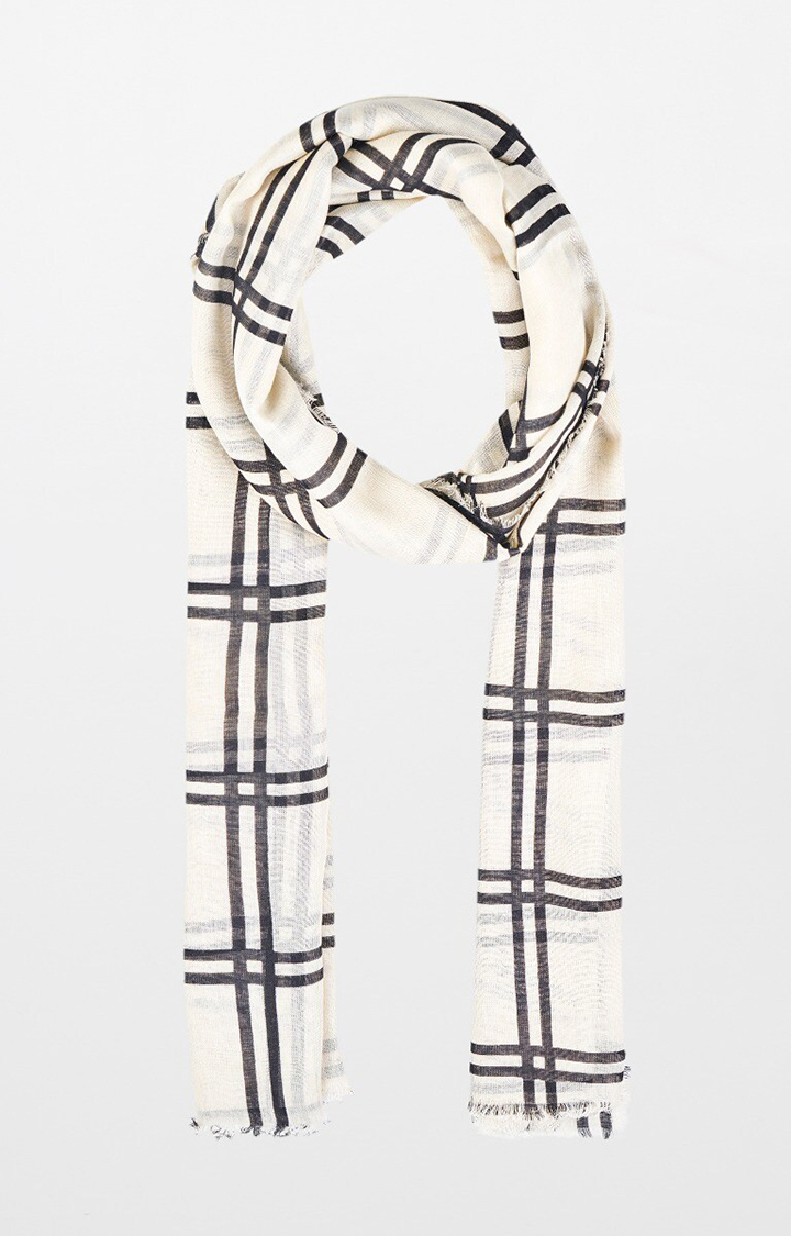 AND | Off White Checked Scarf
