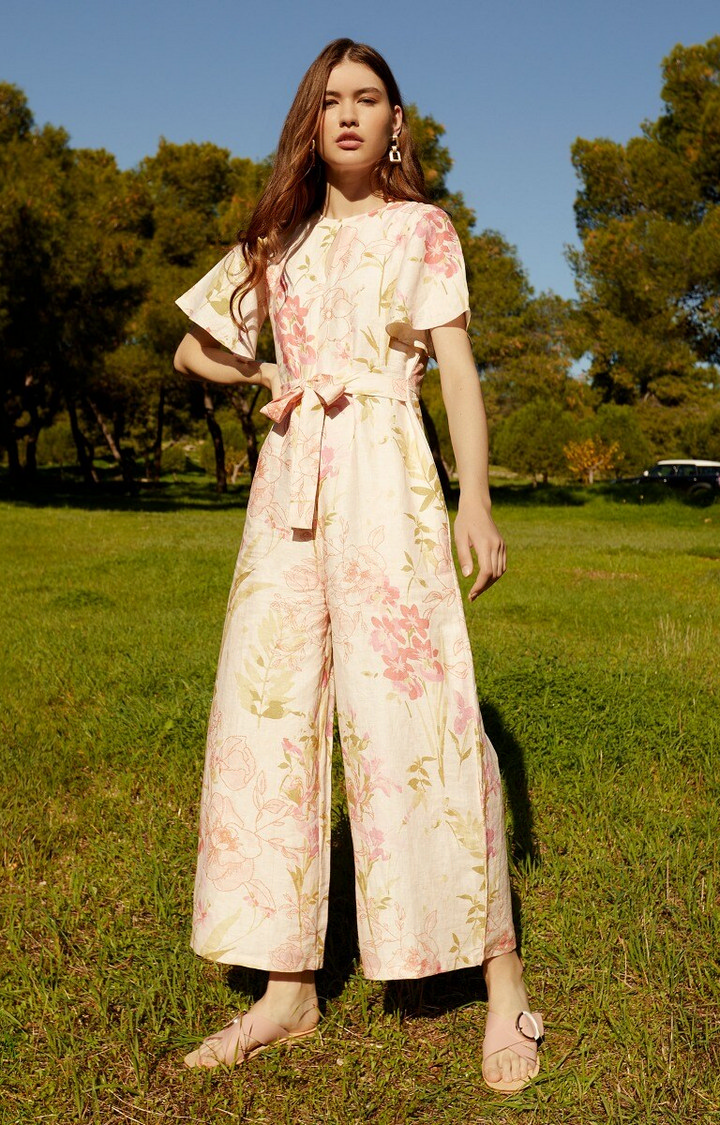 AND   Pink and Beige Floral Jumpsuit