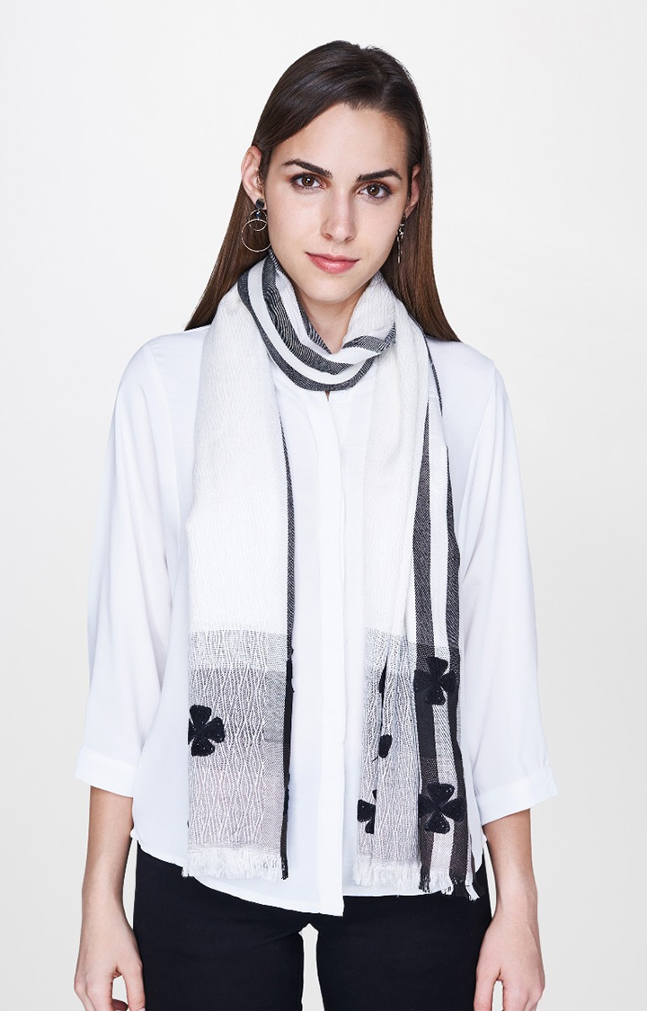 AND | White Printed Scarf
