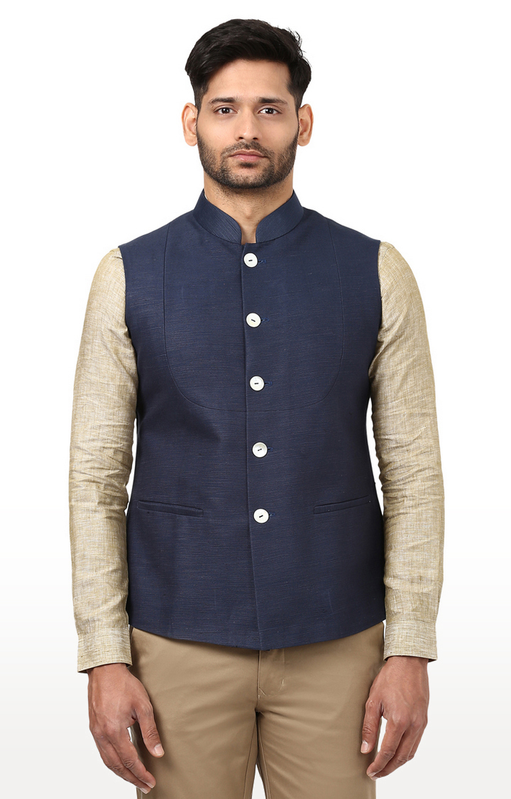 Raymond | Dark Blue Solid Ethnic Jacket