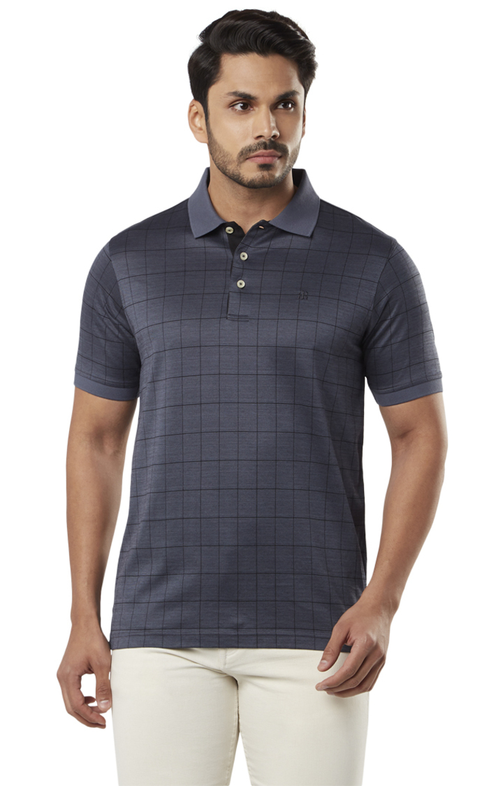 Raymond | Navy Checked Contemporary Fit Polo T-Shirt