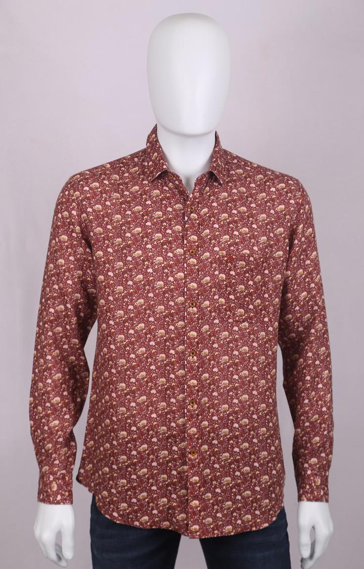 Raymond   Maroon Printed Casual Shirt
