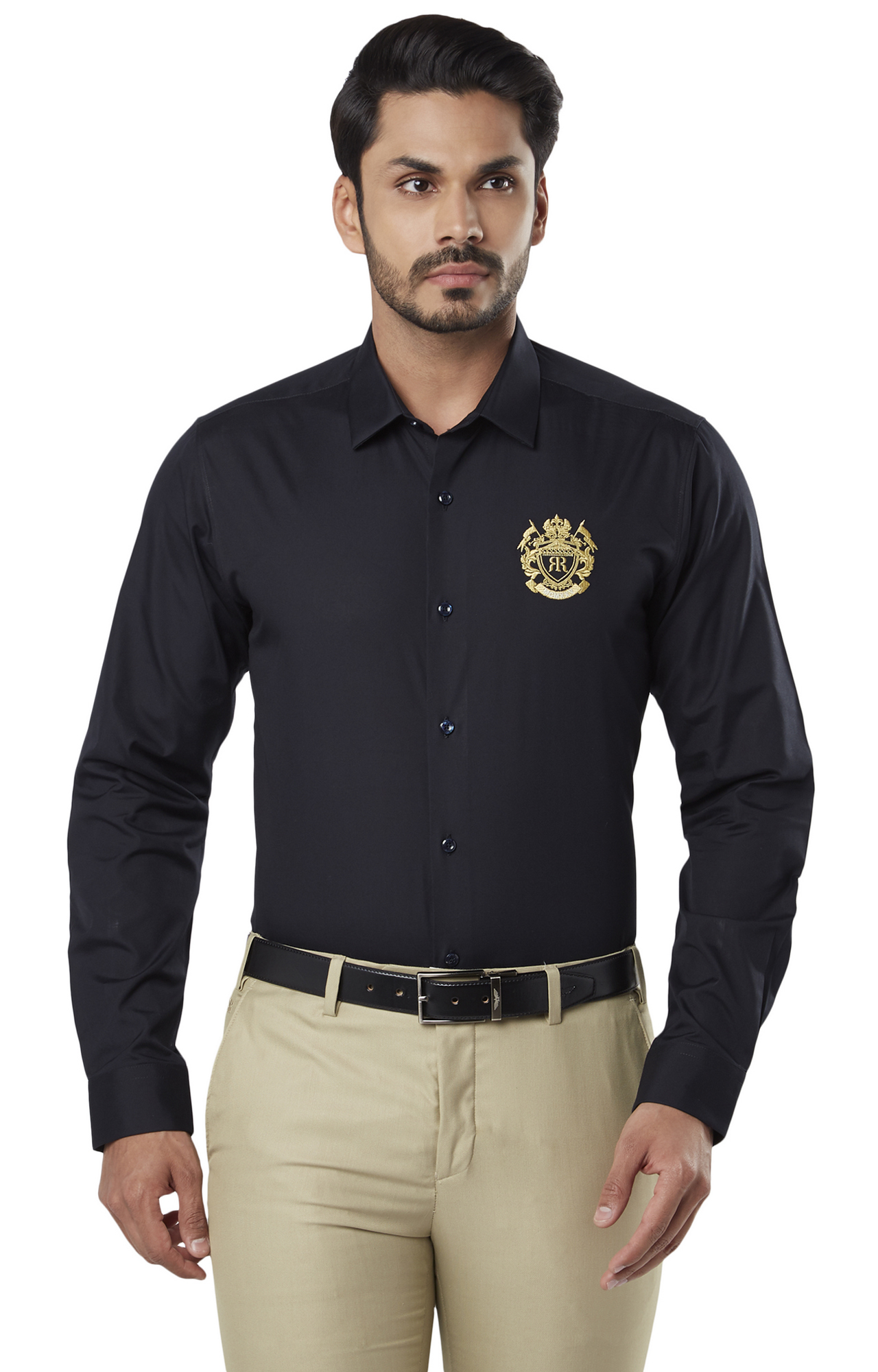 Raymond   Black Solid Formal Shirt