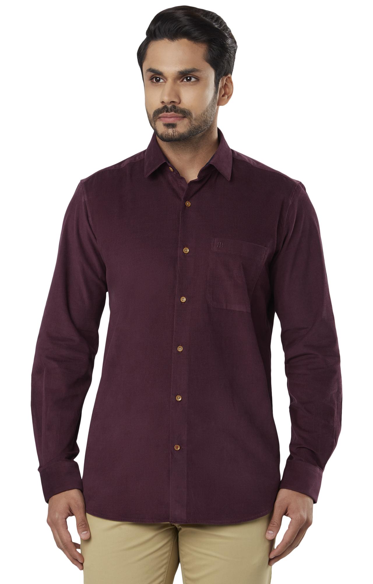 Raymond | Maroon Solid Formal Shirt