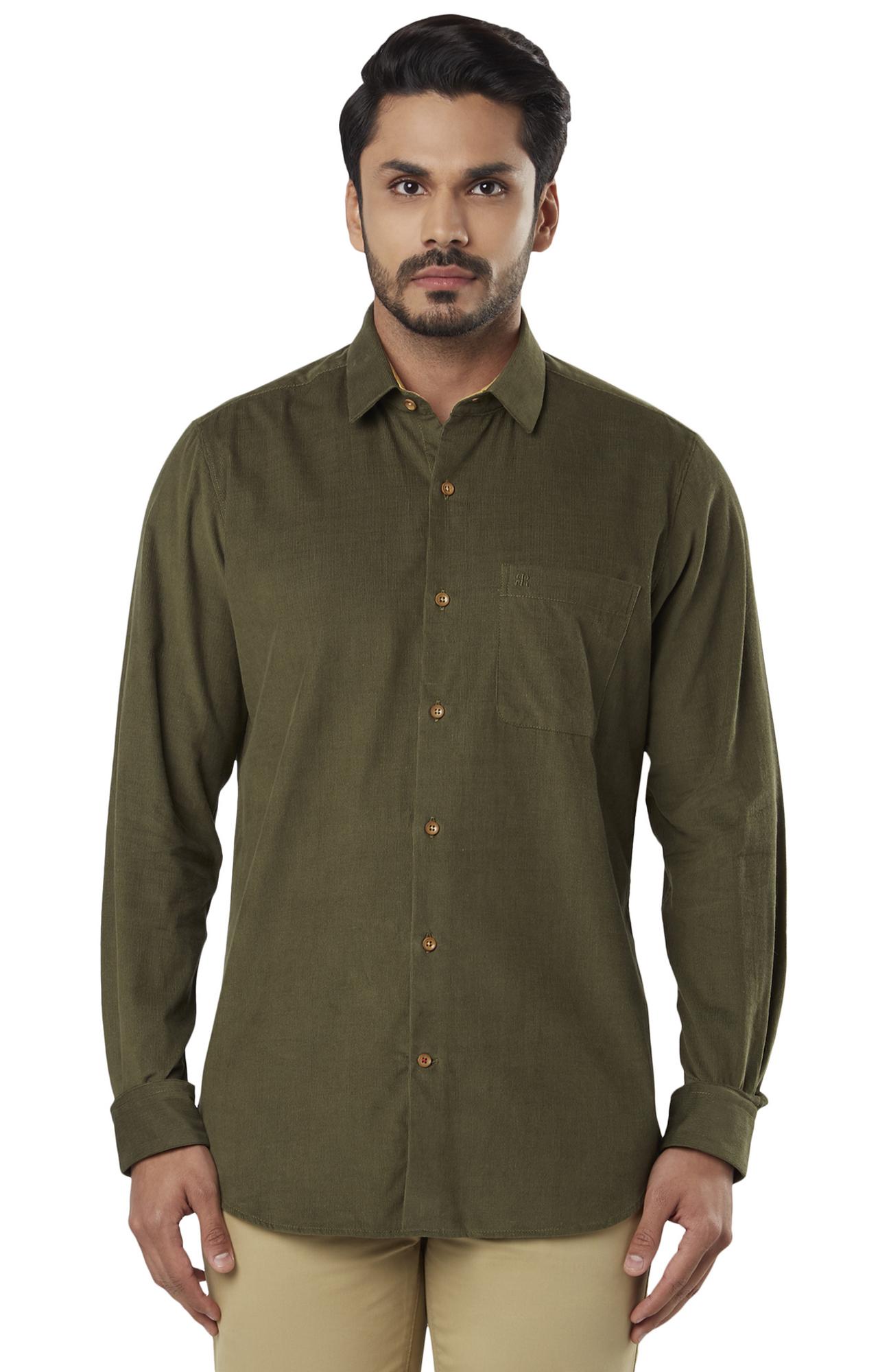 Raymond | Olive Solid Formal Shirt