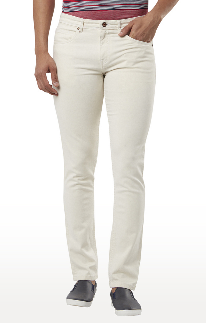 Raymond | White Solid Tapered Jeans