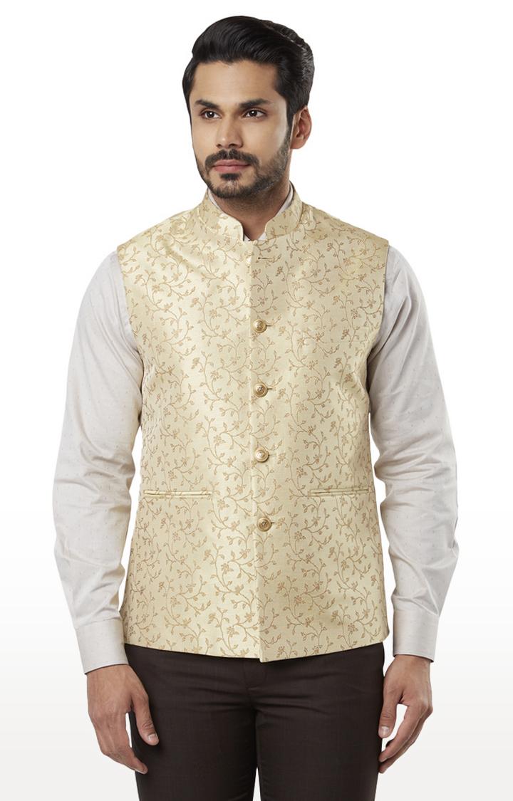 Raymond | Beige Printed Ethnic Jacket