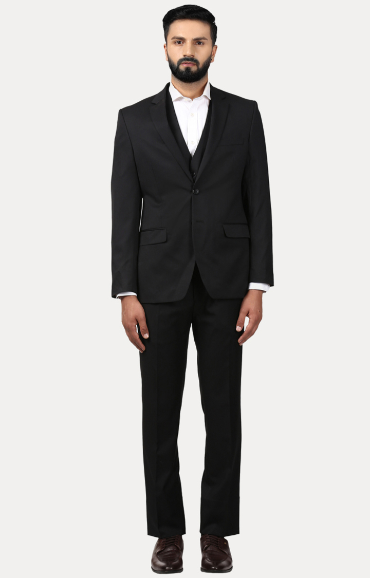 Raymond | Black Solid Two Buttoned Suit