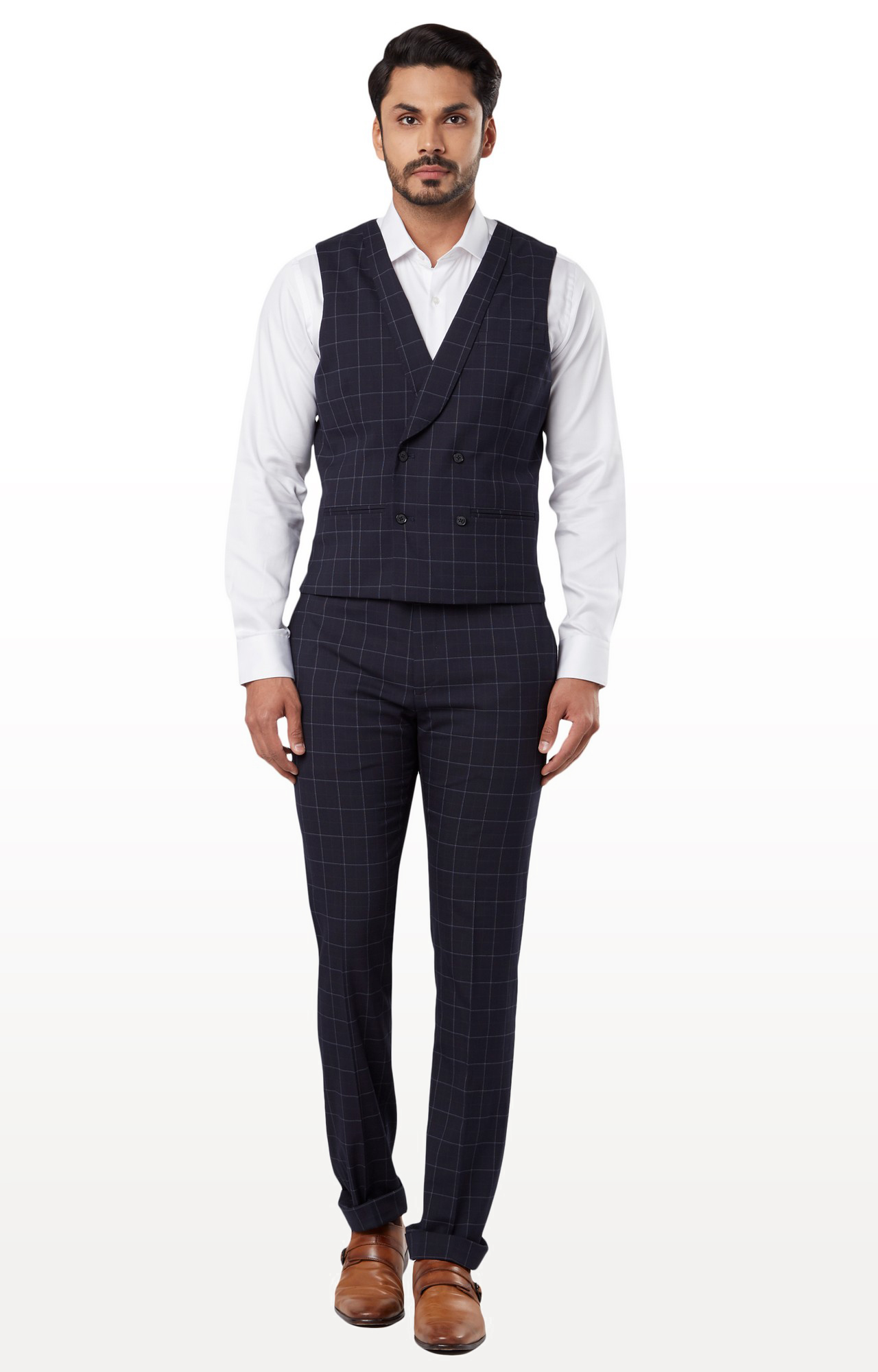 Raymond   Blue Checked Double Breasted Suit