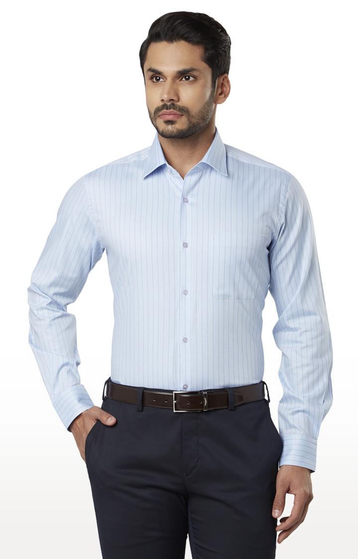 Raymond   Light Blue Striped Formal Shirt