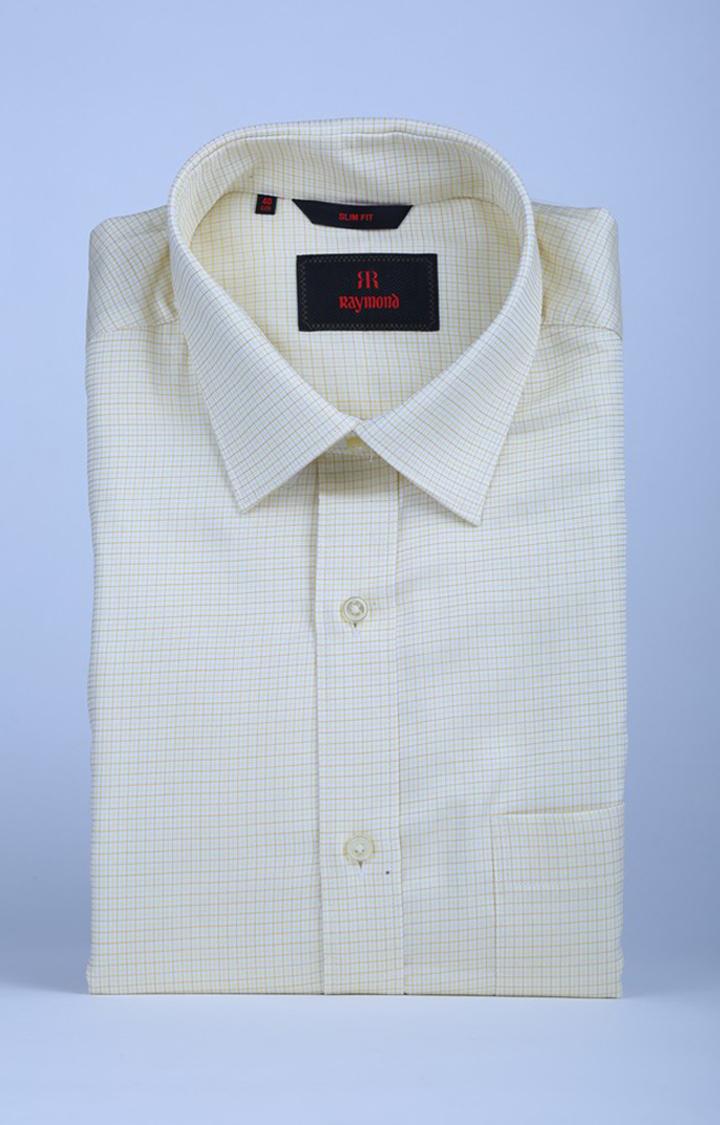 Raymond | Yellow Checked Formal Shirt