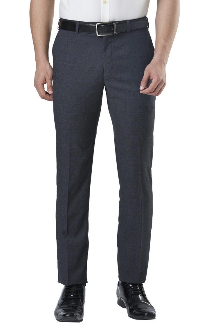 Raymond | Grey Flat Front Slim Fit Formal Trousers