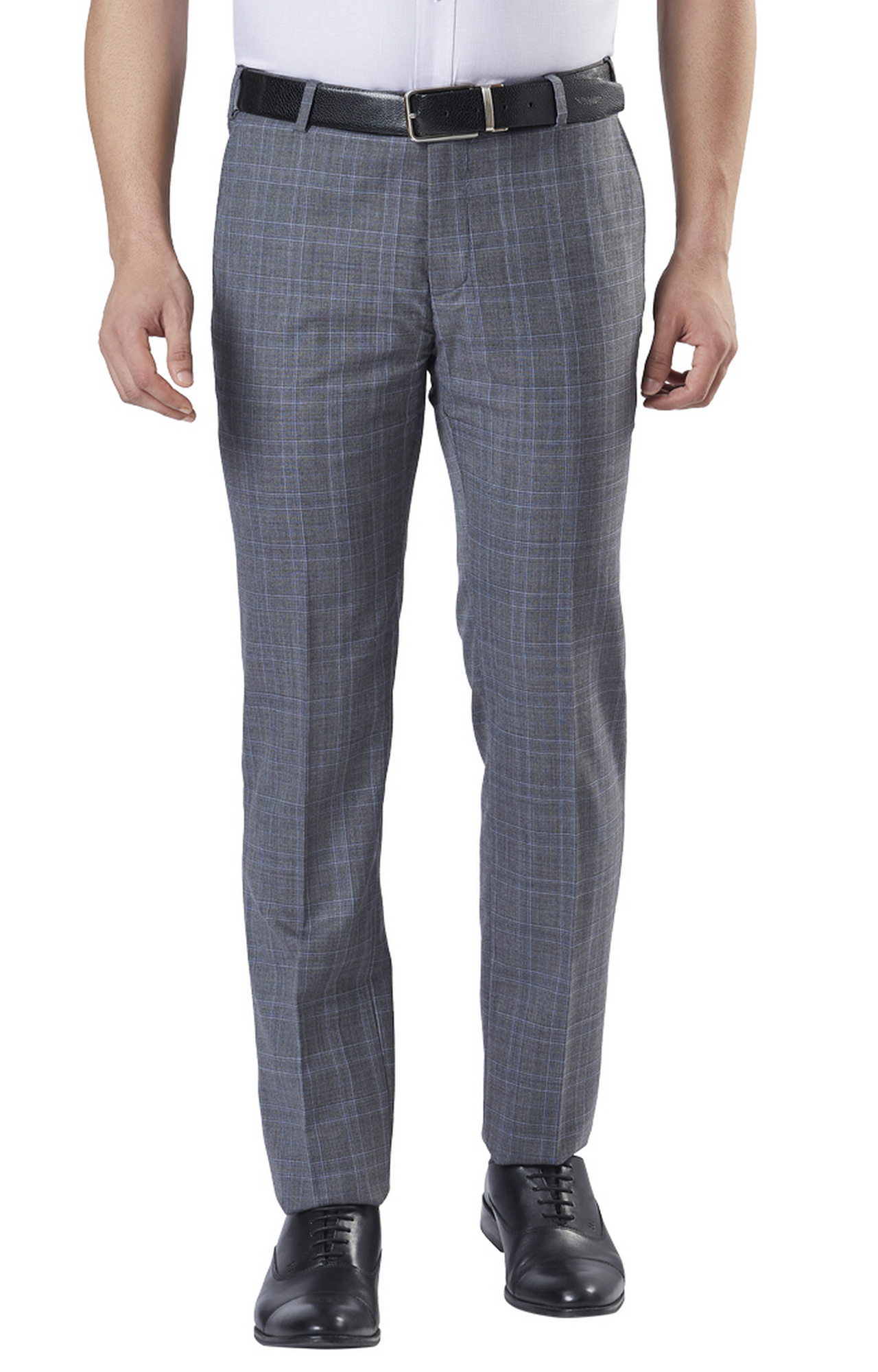 Raymond   Grey Flat Front Formal Trousers