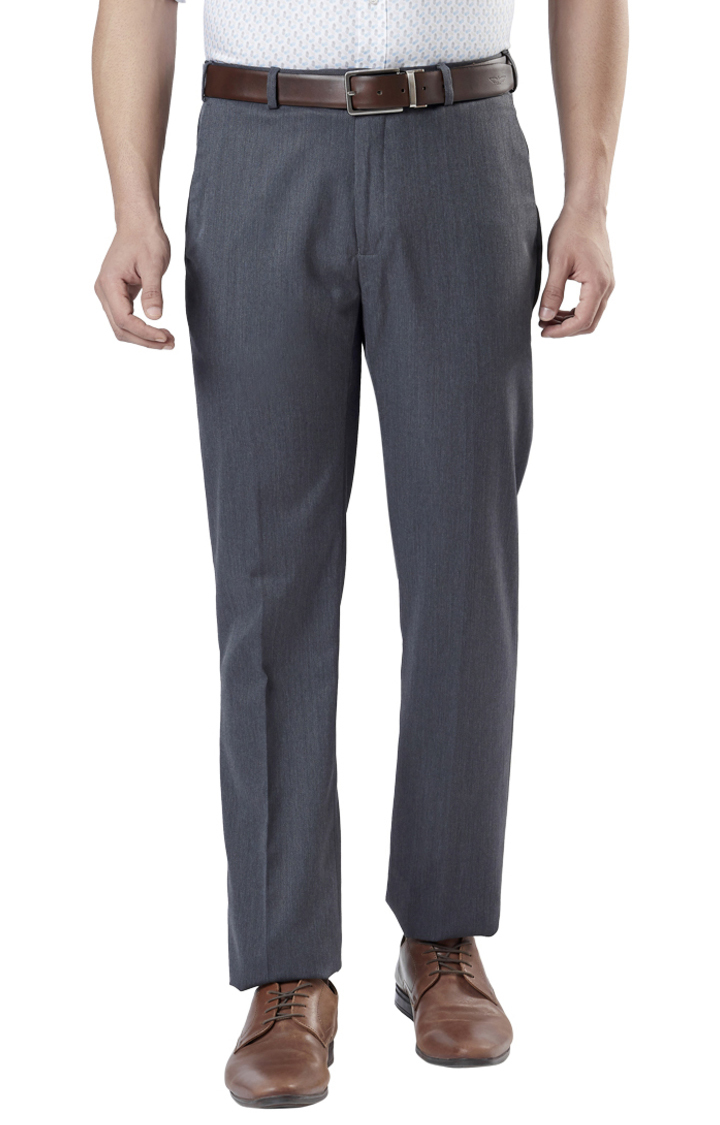 Raymond | Grey Flat Front Contemporary Fit Formal Trousers