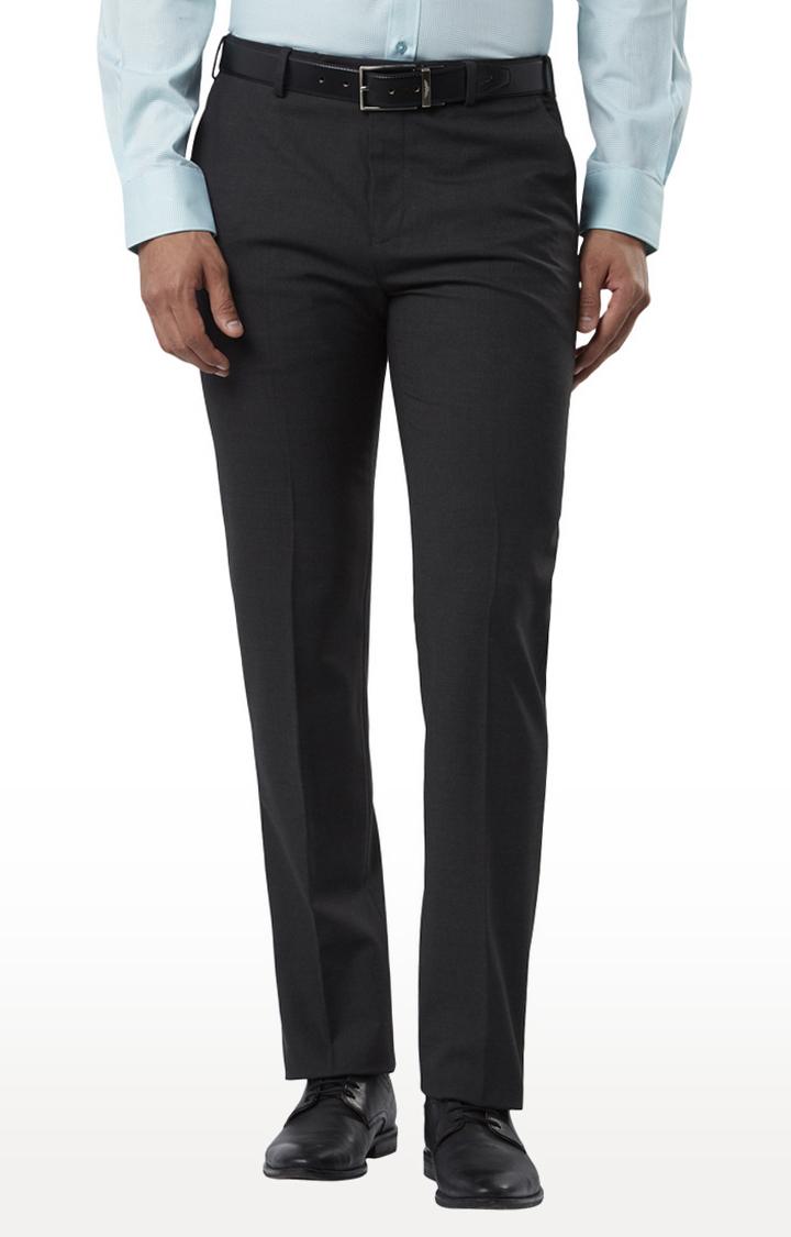 Raymond   Dark Grey Flat Front Formal Trousers