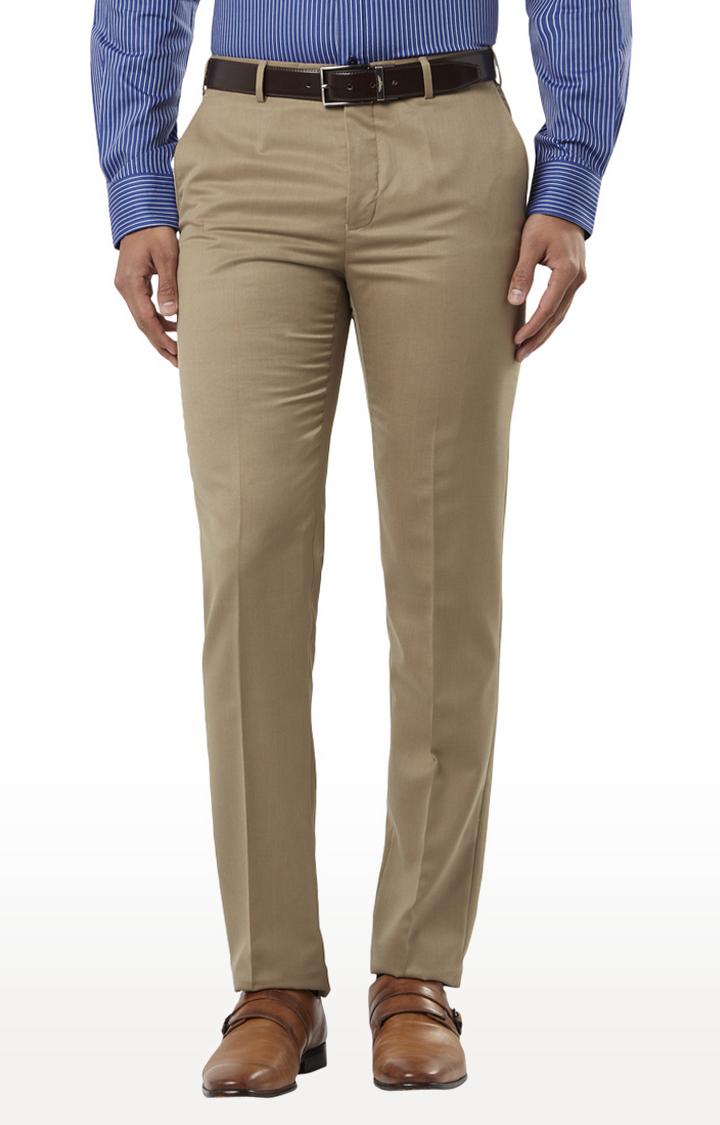 Raymond | Medium Beige Flat Front Formal Trousers