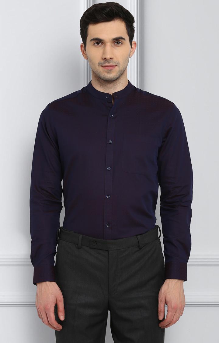 Raymond   Purple Printed Formal Shirt