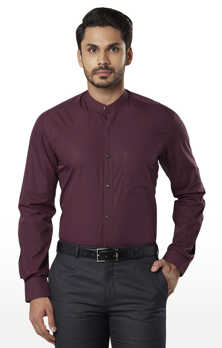 Maroon Solid Formal Shirt